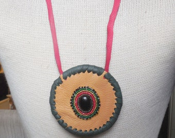 Beaded Onyx / Buckskin Medallion Necklace - Semiprecious Stone / Gemstone - OlyTeam