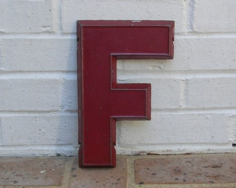 Vintage Metal Sign Metal Letter F Chippy Painted Letter F Sign Old Rusty Letter F Antique Marquee Letter F 10 Inches Tall