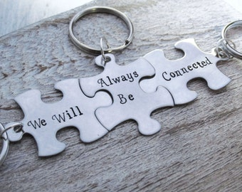 Hand Stamped Puzzle Keychains - Connected - 3 keychains