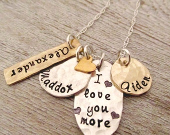 Hand Stamped Jewelry -  I love you more - Mother's Necklace - Personalized Necklace