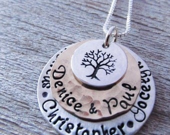 Favored - Family Tree Necklace - hand stamped necklace - personalized jewelry - mothers necklace