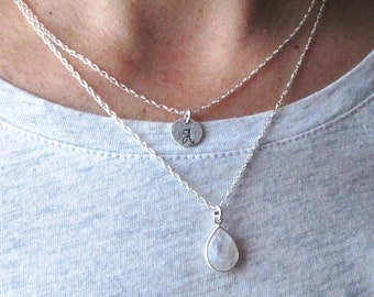 Layered Necklace Set - Set of 2  - Personalized Jewelry -  Silver Double Strand Necklace - Gemstone Layered Necklaces - Bezel Necklace