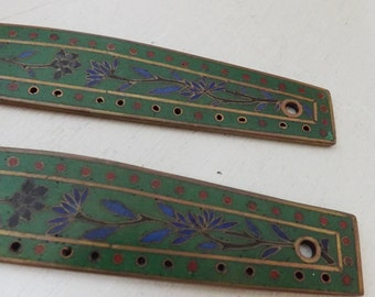 Antique Art Deco floral enamel purse frame panels cloisonne floral green blue and red on brass