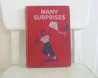 Vintage Child Book, School Reader, Vintage School Book, Red Chapter Book, Many Surprises
