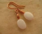 White Earrings, Copper Earrings, White Jade Earrings, White Jade and Copper Earrings