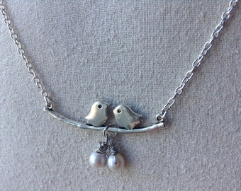 Bird on a Branch Necklace with Pearl drops