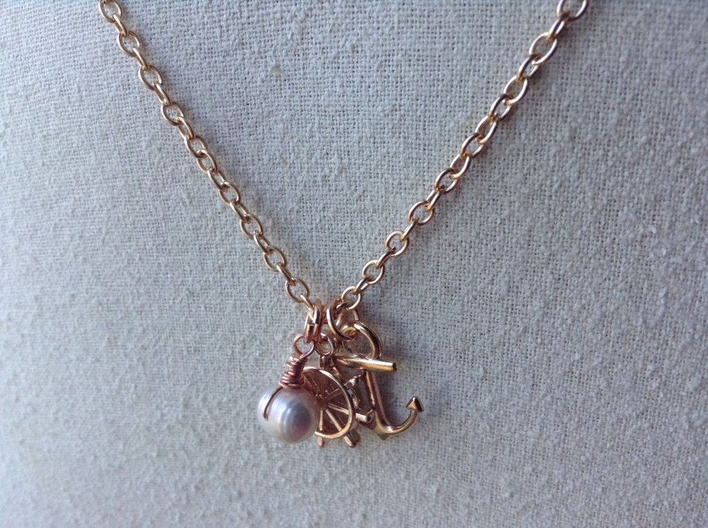 anchor charm necklace gold anchor rudder and pearl