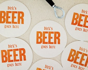 100 personalized beer letterpress coasters