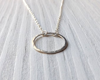 Medium Silver Circle Necklace Simple Circle Layered Pendant Eco Friendly Handmade Everyday Jewelry for Women