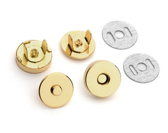 100 Sets Magnetic Purse Snaps - Closures 14mm Gold / Polished Brass - Free Shipping (MAGNET SNAP MAG-110)