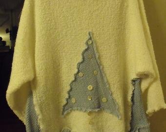 Plus Size Blue Christmas Tree Upstyled Tunic/Cream Sweater/Crochet Woven Tree,Side Inserts and Fringey Skirt Panels