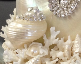 Jewel Cake Topper Seashells & Coral Table Decor/Weddings