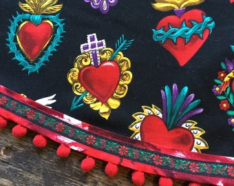 Mexican Tablecloth Sacred Heart Milagros Black Red and Gold