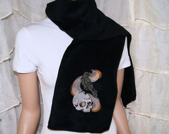 Raven and Skull Smoke Embroidered Black Scarf MTCoffinz