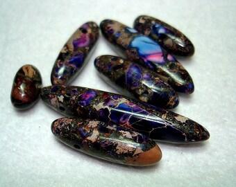 Purple Dyed Regalite Mixed Rice Beads (Qty 7) - B2676