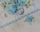 Vintage Double Bed Flat Sheet, Blue Roses
