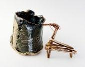 Adorable Hobbit Expresso Mug, Tiny Rustic Tree Bark Pottery, Small Mug, 5 ounce, Primitive Cup, Green Tan Black