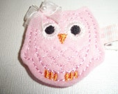 Boutique Embroidered Felt  Pink Owl Hair Clippie (Item 15-36)