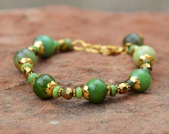 Gift Bracelet, Luck of the Irish Chunky Bracelet, Czech glass beads, Chrysoprase wheel beads, Made in America, Birthday, Easter, Holiday