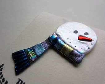 Simple snowman with  scarf pin Brooch