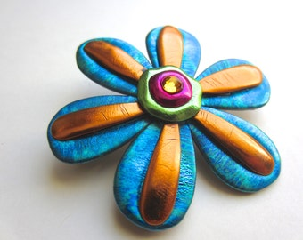 Teal and copper Flower with Rhinestone Center Pin Brooch