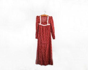 vintage 70s Peasant Dress Maroon Floral Calico Empire Waist Ruffle Prairie Dress