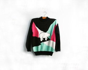 vintage 80s Colorblock Polar Bear Seafoam Green & Hot Pink Ugly Winter Novelty Sweater M L