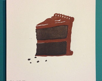 "Piece of Cake ""Double Chocolate"" lino cut 8""x8"" print."
