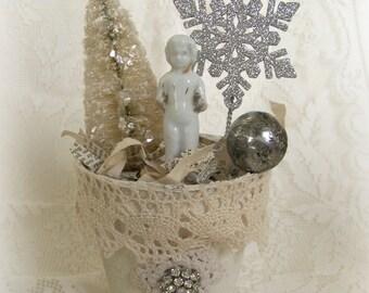 Winter White Christmas Decoration Vintage Christmas Decor Shabby White Christmas Mixed Media  Peat Pot Vintage Frozen Charlotte Altered Pot