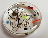 Steampunk Acrylic Cabochon Vintage Watch Hands and Parts Made into an Awesome Puffy Round Pillow Cabochon Steam Punk Vintge Watch Parts A5