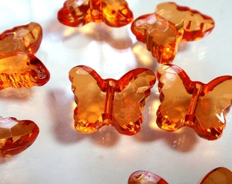 Bright Orange Acrylic Faceted Butterfly Beads Spring Summer Jewelry Making SuppliesA4