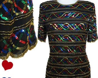 Rainbow Sequin Shirt Top Vintage 80s SEQUIN Rainbow Beaded Black Silk Top S M Party Trophy Short Sleeves