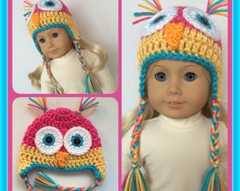 Doll Clothes Made To Fit American Girl Crochet Owl Earflap Hat with Braids, Hot Pink and Yellow Handmade