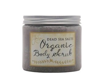 Large Lavender Organic Body Scrub with Dead Sea Salts -  essential oils and Vitamin E, 16 oz - 454 grams - wooden scoop