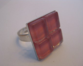 25% OFF Sale Coral Glass Mosaic adjustable Cocktail Ring