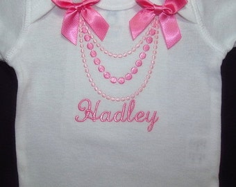 Baby Girl Clothes Baby Girl Coming Home Outfit Take Home Shower Gift Bodysuit or Gown Personalized Monogram Embroidered Necklace Baby Shower