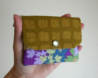 Colorful Leaves with Textured Mustard Fabric Card Wallet with Zipper