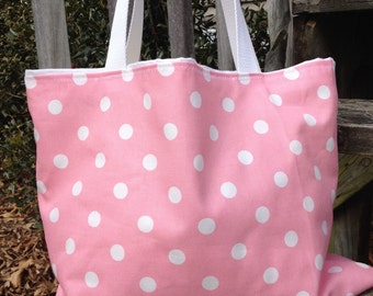 Bridesmaids totes, monogram tote, Pink polka dot tote, pink tote, pilka dot diaper bag, pink bag, purse, tote, bag, large tote, beach bag