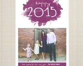 Photo New Year's Card, printable custom color - color splash.