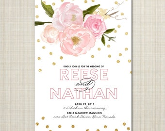 modern floral and gold custom wedding invitation - garden sparkle.