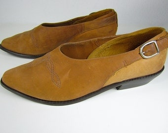 vintage 1970s 1980s beaver brown nubuck leather WESTERN slides 9 WEST slip on loafers winkle pickers boho goddess bohemian BRAZIL 7 1/2 chic