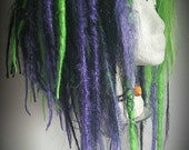 REDUCED Massive halloween dreadlock wig with painted bones and skeleton hand clip. Green, purple and black! Voodoo wig