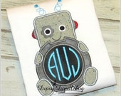Monogrammed Robot Embroidered Shirt for Boys or Girls