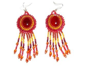 Carnelian beaded earrings with fringe