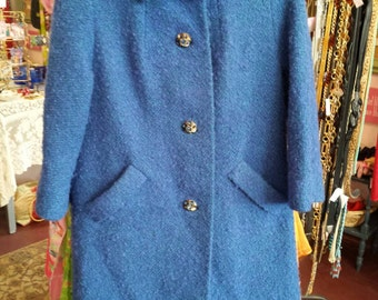 Vintage 50s / 60s Boucle Wool Coat with Rhinestone Buttons...Sapphire Blue & Green. .. Med