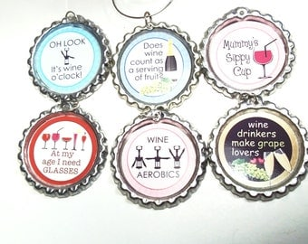 Funny Sayings Wine Glass Charms