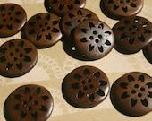 "Wood Buttons - Round Pinwheel Dark Wooden Button - Sewing Crochet Knitting - 1"" Wide"