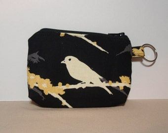 Black and Yellow Sparrows Zipper Pouch - Small Coin Purse or Dice Bag