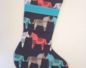 Wooden Horse on Gray Modern Christmas Stocking with Blue Lining and Ribbon