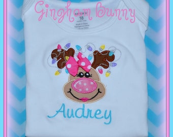 Reindeer Christmas Onesie,  sizes 3, 6, 9, 12,18, or 24 morths By Gingham Bunny